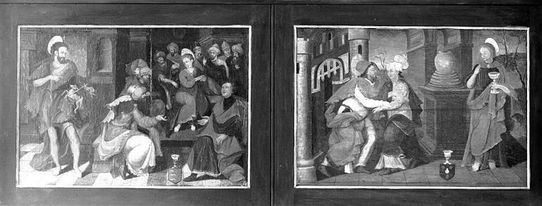 Retable en bois peint, volet fermé : Jésus au milieu des Docteurs et saint Jean-Baptiste, Porte Dorée et saint Jean l'évangéliste
