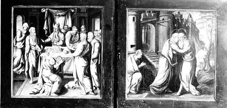 Retable en bois peint, panneaux : la Pâque, la Porte Dorée