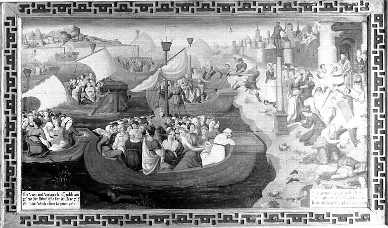 Panneau peint : Débarquement de sainte Ursule et des dix mille vierges