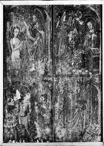Face de panneau en bois peint : Baptême