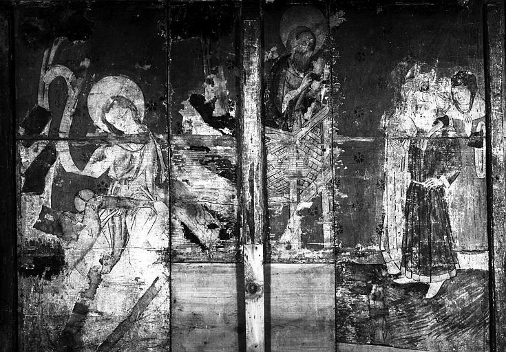 Revers de panneau : saint Jean-Baptiste assis et Prédication de saint Jean-Baptiste