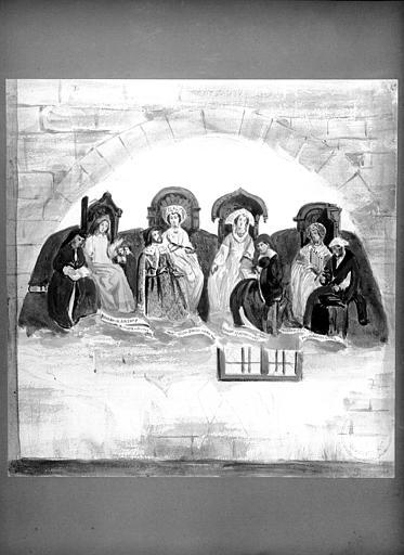 Aquarelle représentant les fresques des arts libéraux du 15e siècle
