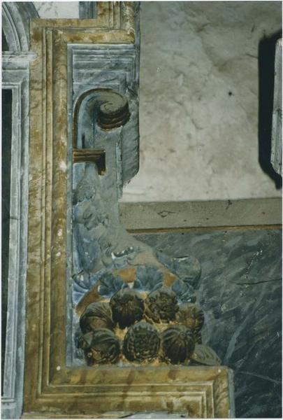 Retable du maître-autel, tabernacle, statues : Saint Aubin, Saint Martin, Saint Pierre, tableau : la Nativité, détail