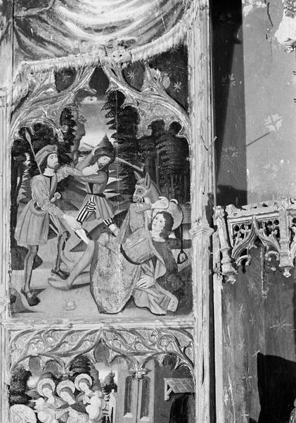 Retable de saint Martin, panneau supérieur gauche : saint Martin tombant aux mains des voleurs