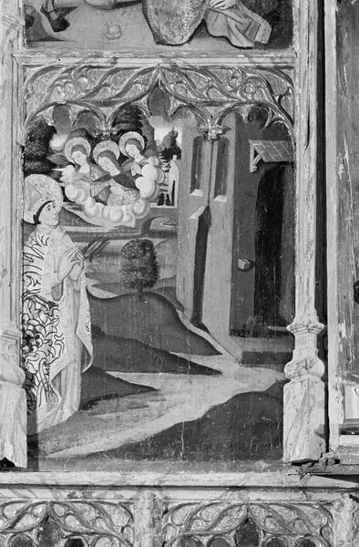 Retable de saint Martin, panneau médian gauche : saint Martin recevant la visite des saintes Agnès, Thècle et Marie