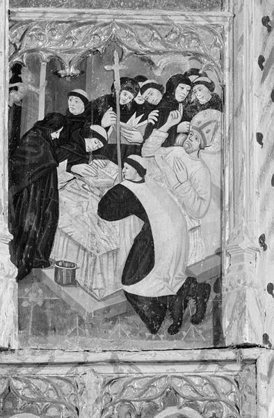 Retable de saint Martin, panneau médian gauche : saint Martin mourant chassant le diable de son lit