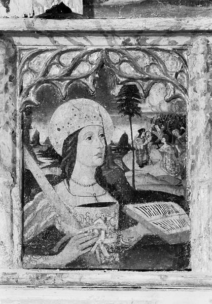 Retable de saint Martin, prédelle, premier panneau : buste de sainte Catherine d'Alexandrie