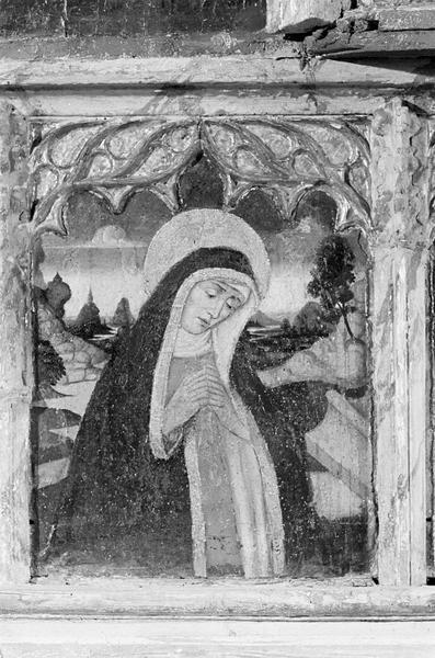 Retable de saint Martin, prédelle, second panneau : buste de la Vierge