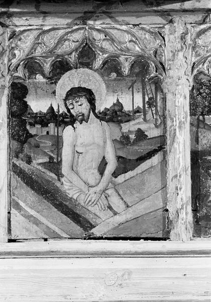 Retable de saint Martin, prédelle, troisième panneau : Christ sortant du tombeau