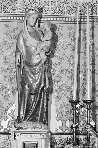 Statue polychrome : Vierge à l'Enfant dite Notre-Dame de la Rominguière, de face