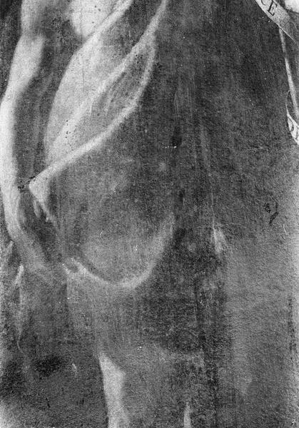 Tableau : saint Jean-Baptiste, détail du bras droit et du vêtement