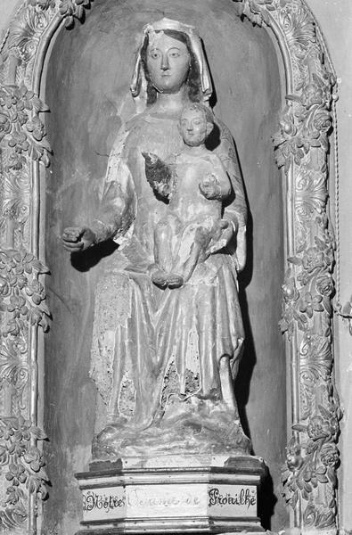 Statue en bois : Vierge à l'Enfant assise dite Notre-Dame de Prouilhe, de face