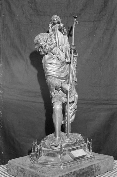 Statuette-reliquaire : saint Christophe, de trois quarts droit