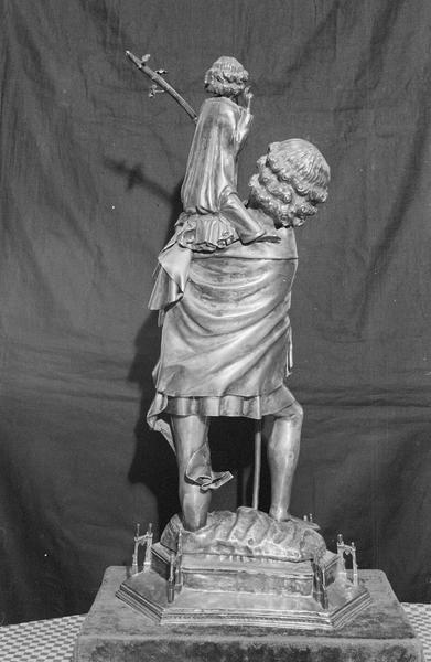 Statuette-reliquaire : saint Christophe, de dos