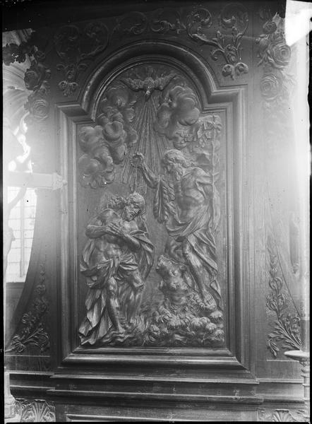 Intérieur, banc d'oeuvre : bas-relief, le baptême du Christ en partie centrale
