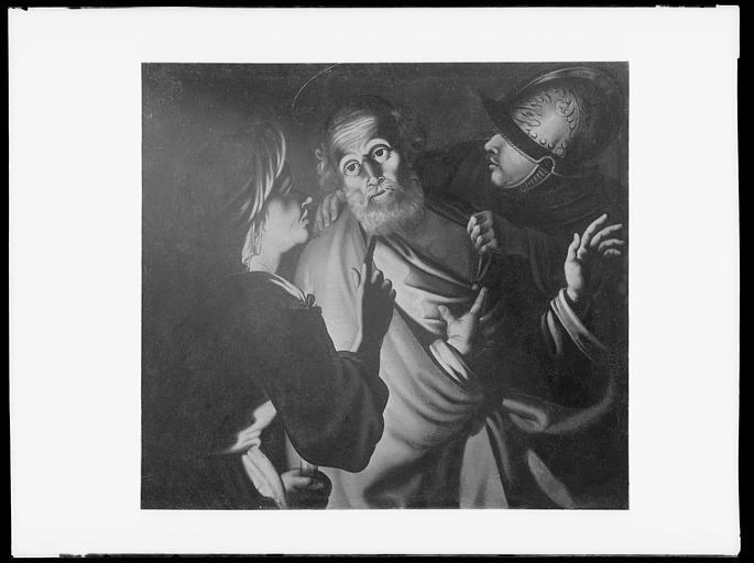 Peinture sur toile : le Reniement de saint Pierre, état après restauration