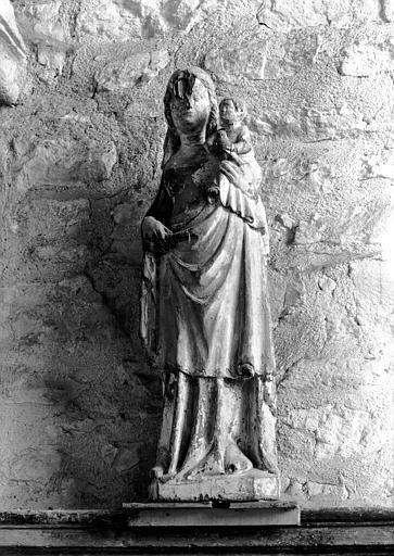Statue en pierre ou bois : Vierge à l'Enfant