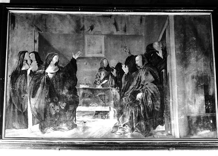 Peinture sur toile du choeur : saint Benoit dans le couvent de sainte Scolastique