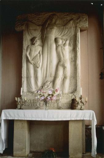 Haut-relief : Vierge des mineurs, pierre, vers 1948 (autel latéral nord)