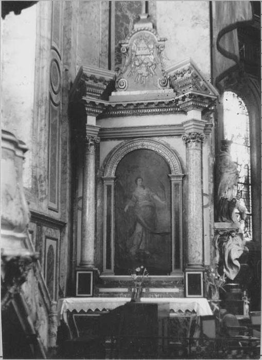 Autel, retable, tableau : Sainte Catherine-d'Alexandrie (autel secondaire)