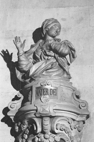 Statue, buste : la Vierge de l'Annonciation avec inscription 'Mater Dei'