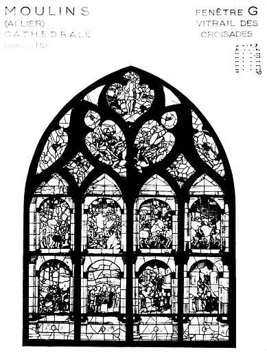 Photomontage de vitrail : baie G, vitrail dit des Croisades
