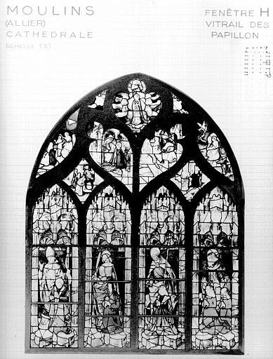 Photomontage de vitrail : baie H, vitrail dit des Papillons