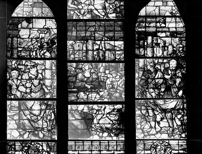 Photomontage de vitrail, baie I, Adoration des Mages : partie  centrale des trois lancettes, état après restauration