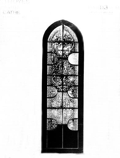 Photomontage de vitrail, chapelle rayonnante D : baie 3, saint  André, état après restauration
