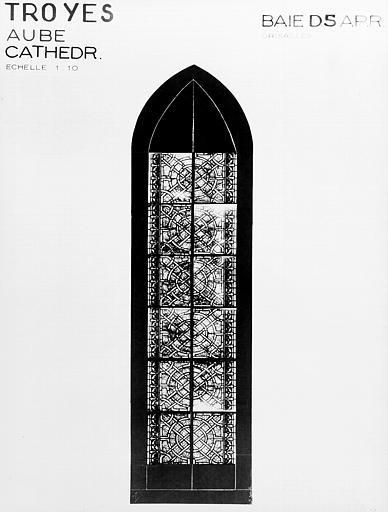 Photomontage de vitrail, chapelle rayonnante D : baie 5,  grisailles, état après restauration