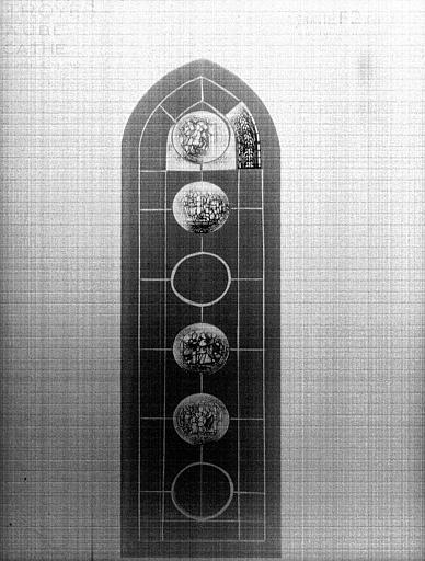 Photomontage de vitrail, chapelle rayonnante F : baie 2, saint  Pierre, état après restauration
