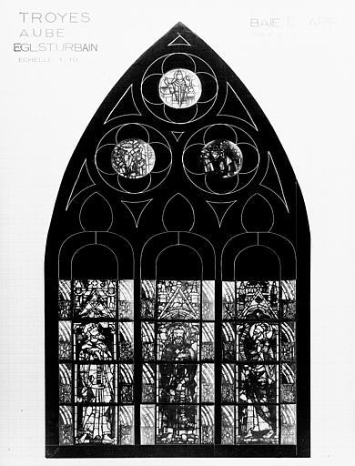 Photomontage de vitrail, baie E : prophètes, état après  restauration