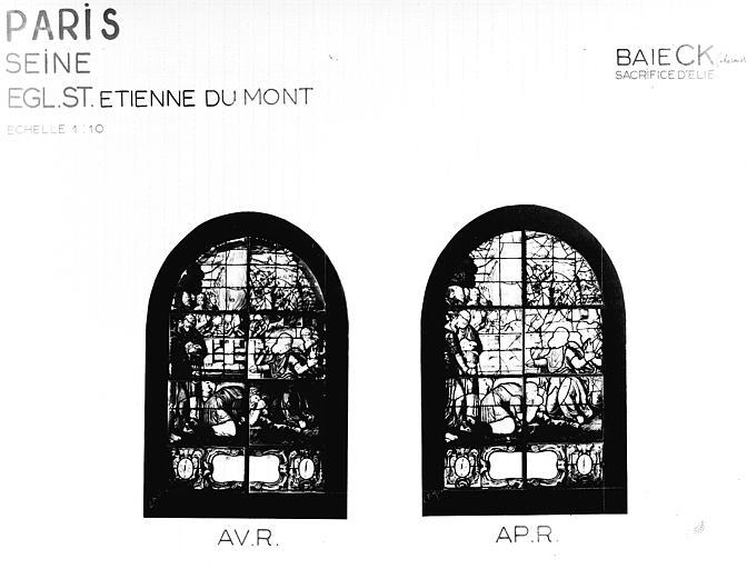 Photomontage de vitrail : Sacrifice de saint Elie, état après  restauration
