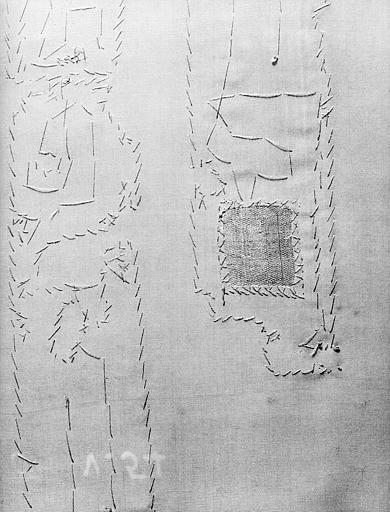 Fragments d'un tissu vieil or et bleu vert : envers