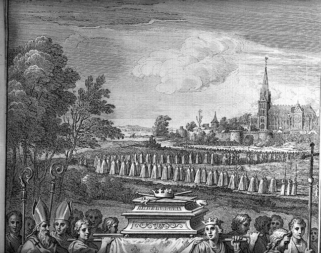 Procession des funérailles de Philippe III, frontispice du livre  de Felibien, partie supérieure