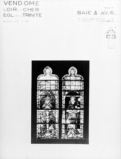 Photomontage de vitrail, baie A : saint Jean-Baptiste et Trinité,  état avant restauration