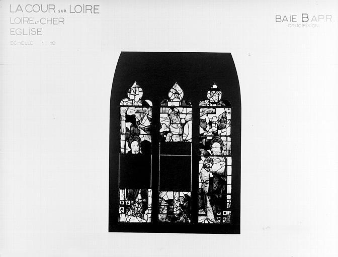 Photomontage de vitrail, baie B : Crucifixion, état après  restauration