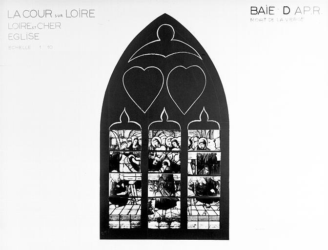 Photomontage de vitrail, baie D : Mort de la Vierge, état après  restauration