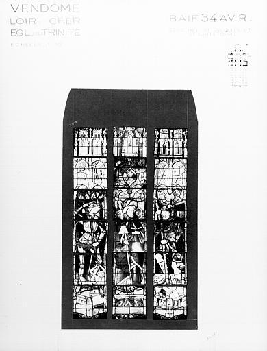 Photomontage de vitrail, baie 34 : saint Michel, saint Jacques et  saint Christophe, état avant restauration