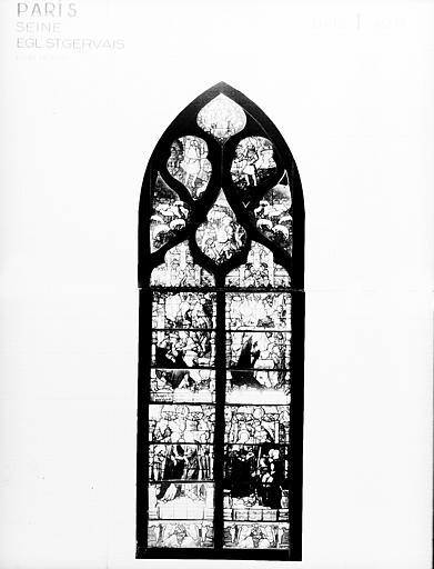 Photomontage de vitrail, baie I : Vie de la Vierge, état avant  restauration