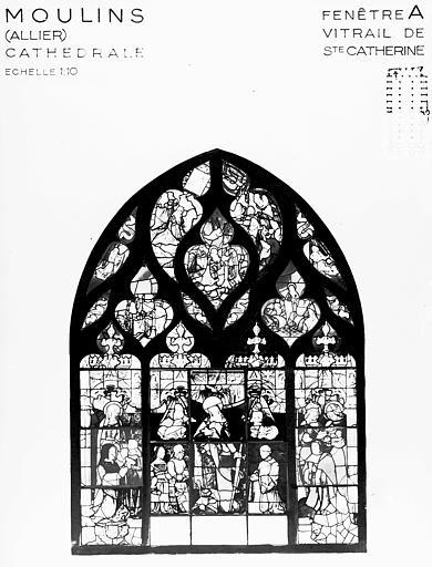 Photomontage de vitrail : baie A, sainte Catherine
