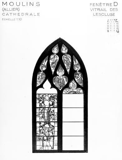 Photomontage de vitrail : baie D, vitrail dit des Lescluse