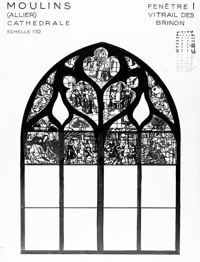 Photomontage de vitrail : baie I, vitrail dit de Brinon, état  avant restauration