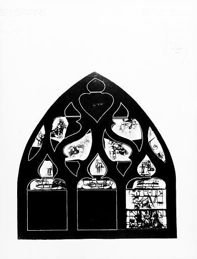 Photomontage de vitrail, baie E : Apparition du Christ, état avant  restauration
