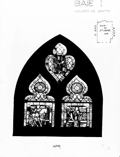Photomontage de vitrail, baie I : divers, état après restauration