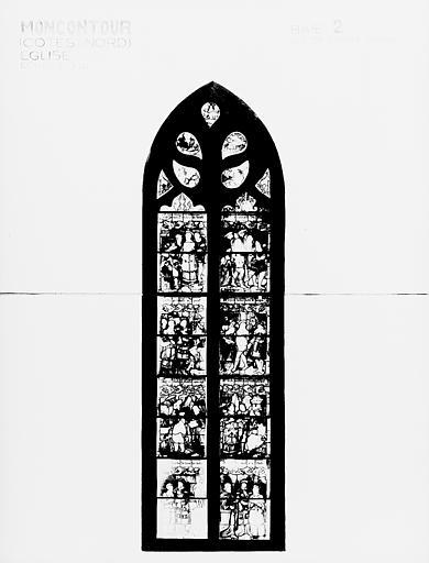 Photomontage de vitrail, baie 2 : Vie de sainte Barbe, état après  restauration