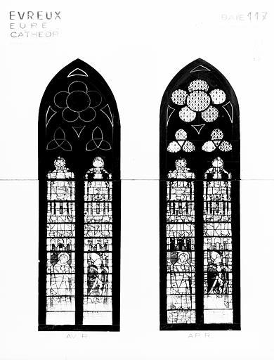 Photomontage de vitrail : baie 117, saints, état avant et après  restauration