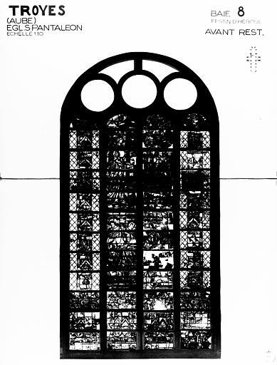 Photomontage de vitrail : baie 8, le Festin d'Hérode, état avant  restauration