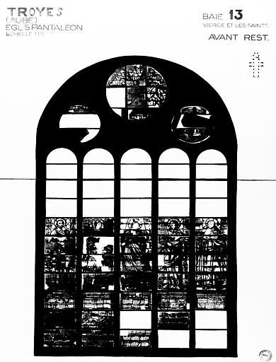Photomontage de vitrail : baie 13, la Vierge et les saints, état  avant restauration