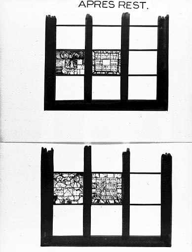 Photomontage de vitrail : baies XV et XVII, fragments, état après  restauration